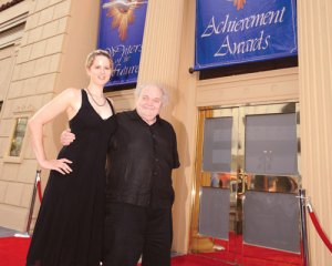 Amelia Beamer and Charles N. Brown of Locus magazine arrive at the event.
