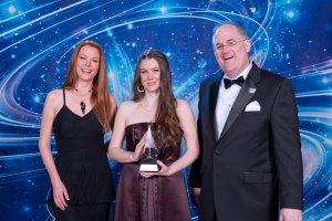 Guest presenter Anna Easteden and Judge Todd McCaffrey with Illustrator winner Emily Grandin.
