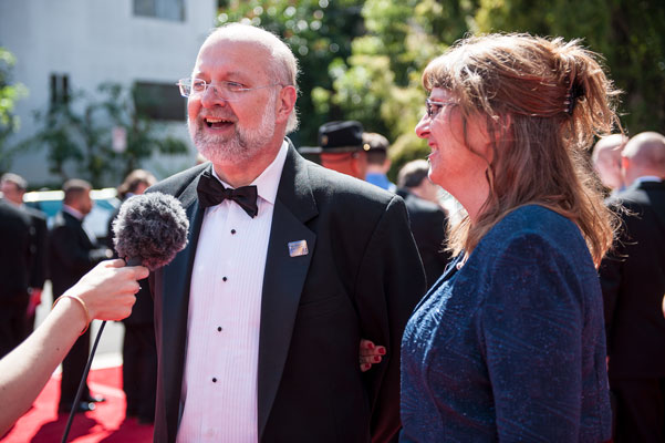 Coordinating judge Dave Farland being interviewed on the red carpet.