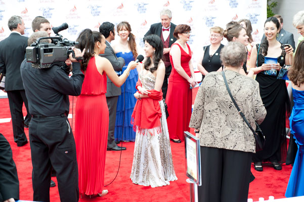 Winners being interviewed on the red carpet.