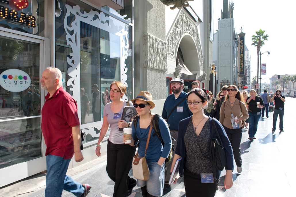 Instructor and Contest judge Dave Wolverton leads his new students along Hollywood Blvd.