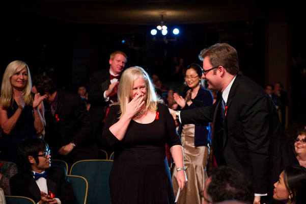 Sharon Joss reacts upon hearing she is the Writers of the Future Gold Award Winner.