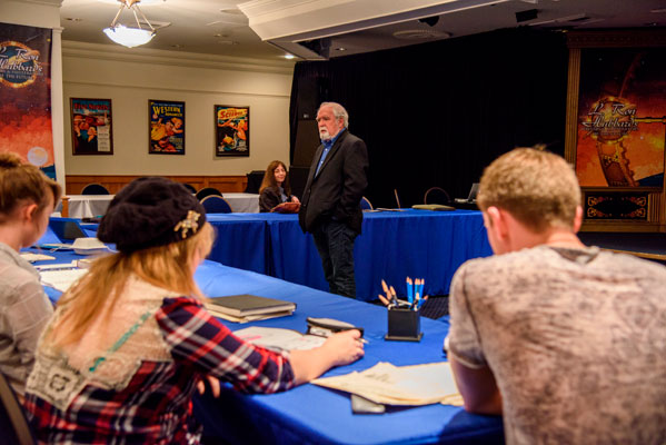 Judge Larry Elmore speaking at the Illustrators Workshop.