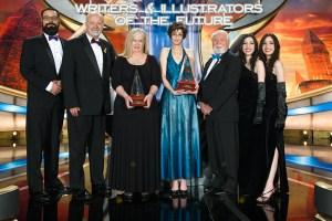 William Pomerantz (far left) with David Farland, Sharon Joss, Michelle Lockamy, Larry Elmore and the Winner Twins at the Annual Awards Celebration
