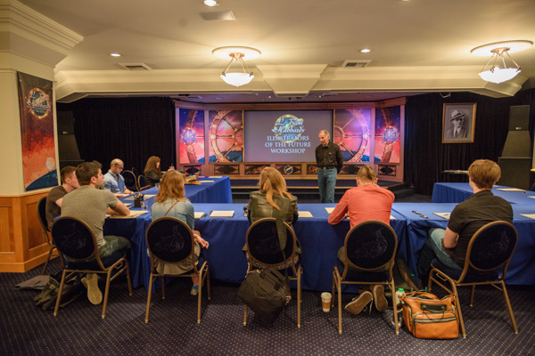 Ron LIndahn officially starting the Illustrator workshop in the L. Ron Hubbard Theatre.