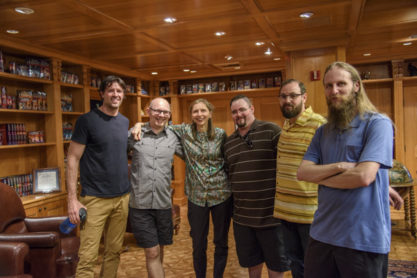 Christoph Weber, Sean Williams, Gunhild Jacobs, JW Alden, Jon Lasser and Stewart Baker in the L. Ron Hubbard Library.