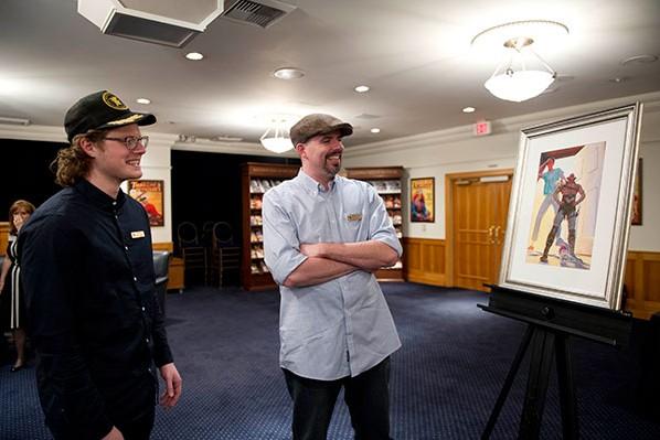 Author Daniel Davis (right) with artist Alex Brock.