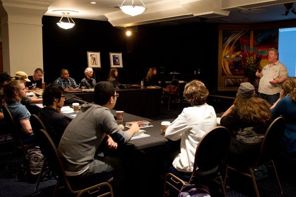 Artist and judge Dave Dorman speaks to the Illustrator winners.