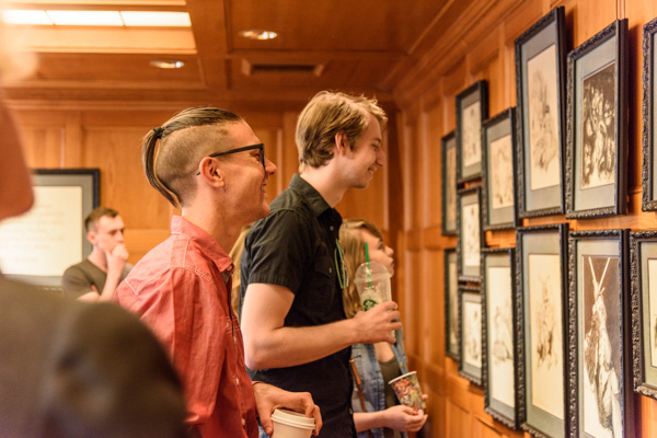 Illustrator winners Killian McKeown and Paul Otteni touring the Writers of the Future Library.