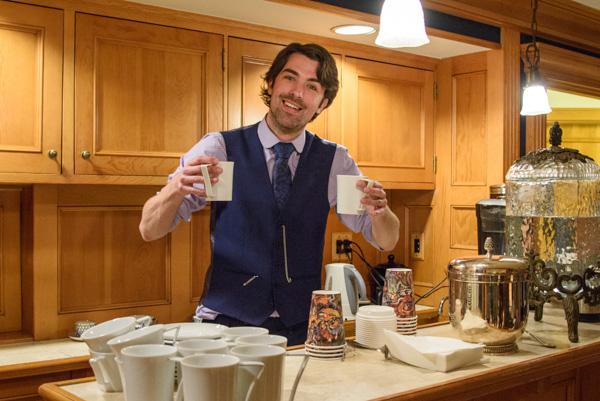 Matt Dovey offering a proper cup of tea.