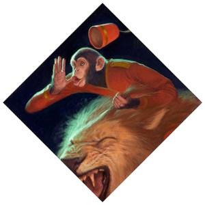 """A Monkey Riding a Lion"" by Choong Nyung Yoon"