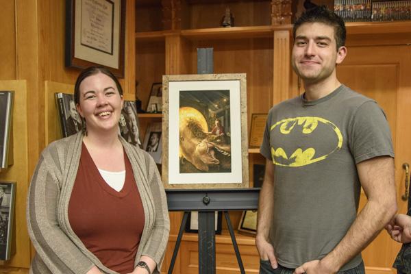 Rachael Jones properly posing with her illustrator, Preston Stone.