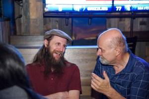 Steward Baker and David Farland at the barbecue.