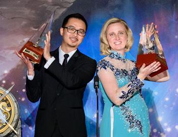 2018 Illustrator Grand Prize winner Kyna Tek and Writer Grand Prize winner Darci Stone