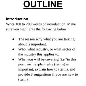 How to write a blog post faster outline