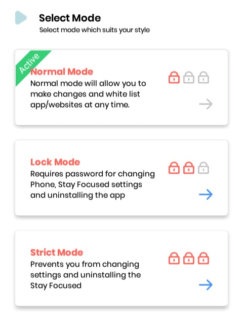 Stay Focused App Mode Features