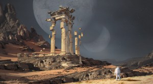 An astronaut on a distant world finds floating Greek architecture.