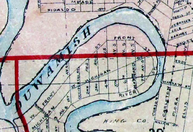 Portion of index page of Baist's Real Estate Atlas of Seattle, 1912, showing Duwamish River oxbow