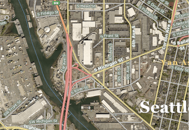 Portion of King County Parcel Viewer map and aerial view of Seattle showing former location of Duwamish River oxbow
