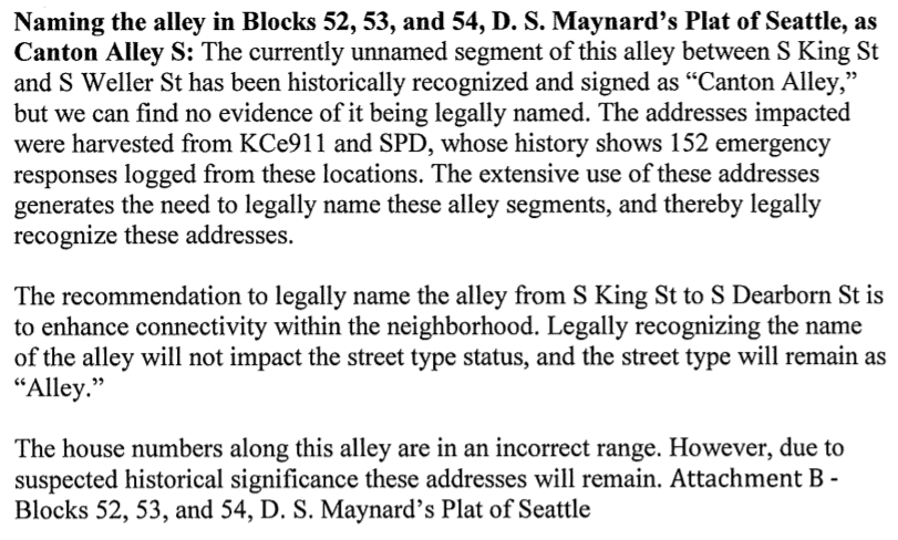 Portion of Summary and Fiscal Note to Seattle Ordinance 125753 Regarding Canton Alley S