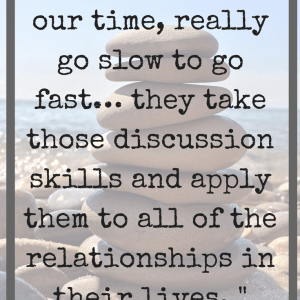 Quote about teaching discussion techniques in front of a tower of rocks