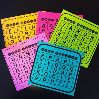 5 multicolored word grids, game boards
