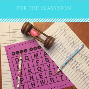 Letter grid game board, sand timer, pencils, lists