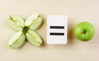 School card and fractional apple pieces