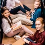 Kids reading on the floor
