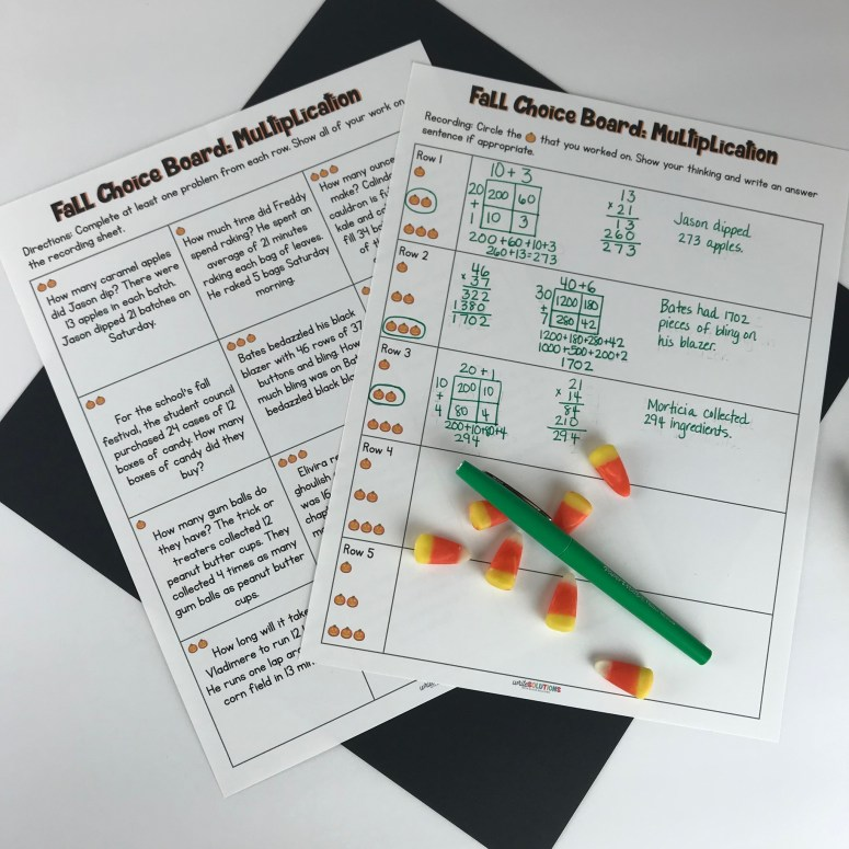 Multiplication choice board to differentiate instruction in a fifth grade math class