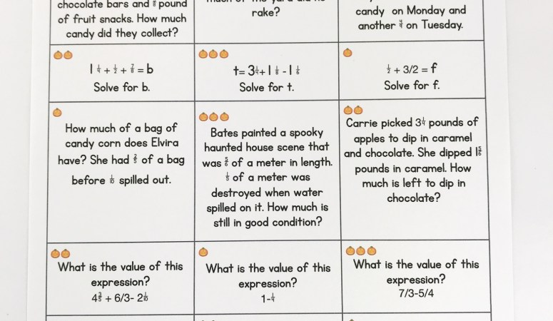 Halloween Math Choice Boards