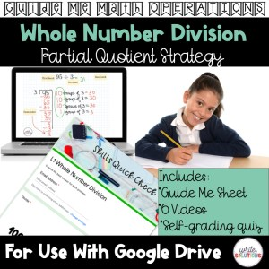 young girl holding pencil with text Whole Number Division and a computer