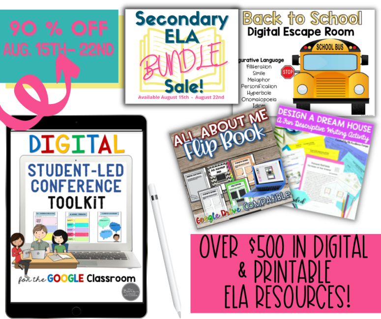Bundles or Reading, Writing, Grammar and Back to School resources are pictured on a flat lay