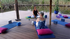 Meditation Retreat Vietnam - Write Your Journey: Getting read for the daily yoga classes with Victoria Nhan.