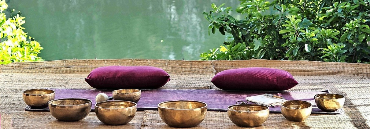 Meditation Retreat Vietnam - Write Your Journey: Singing bowls waiting for Nigel Rowels to play them