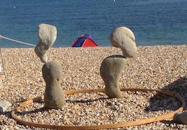 Stone balancing at lyme regis