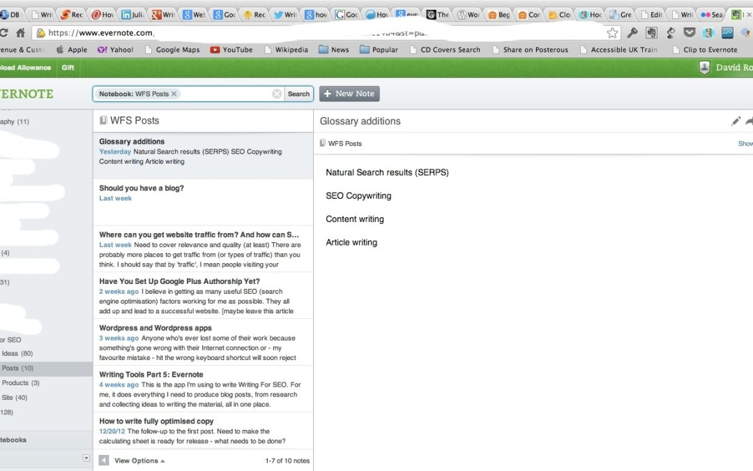 Writing Tools Part 5: Evernote