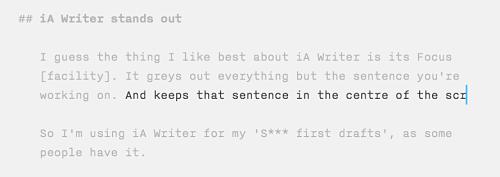 Focus in IA Writer