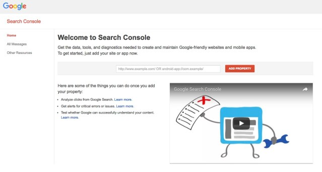 Google Search Console Home