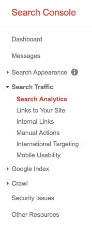 Google Search Console menu
