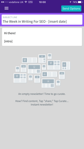 An empty newsletter in Curate