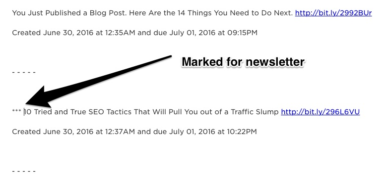 Showing Asterisks For Marked Post For Newsletter