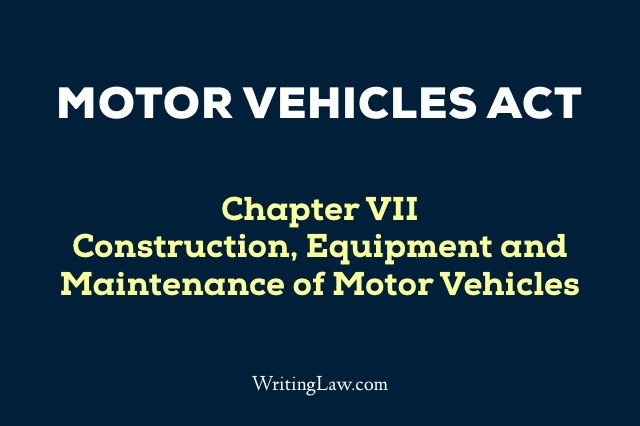 Motor Vehicles Act Chapter 7