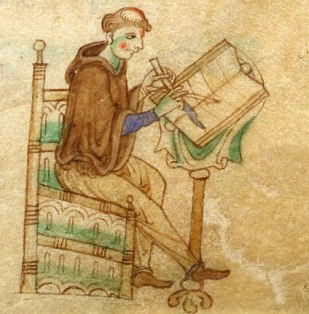 scribe at his desk