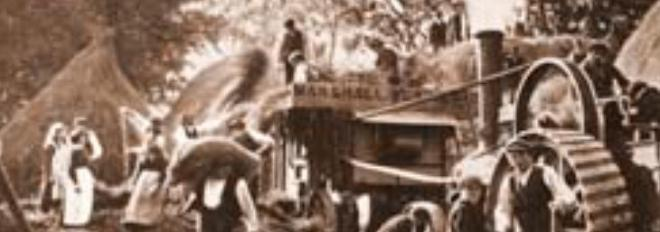 A threshing day in Ireland, a day when all the neighbours worked as a community, known as the tradition of