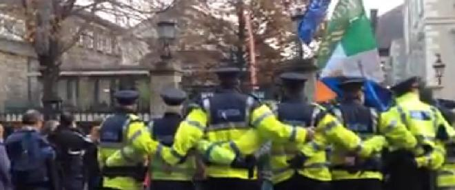 Protesters hemmed in by the Garda at the Mansion House in Dublin