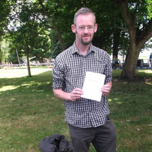 Tomás with Chapbook Ommmmmm! at Poetry in the Park in Athlone
