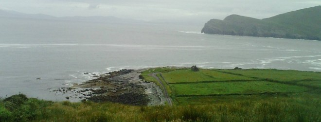Empty feilds in Valentia Island in Kerry in Ireland where cattle used to graze. The EU pay famrers NOT to carry stock so as to create a blobal market for beef from Brazil, the price then too high for local Brazillians to afford who go hungry. The ranchers profit, as they sell the meat to the EU, and the smaller farmer goes bankrupt and ends up in the favela slums and a life of prostitution and drugs, drink and crime awaits the future generations.