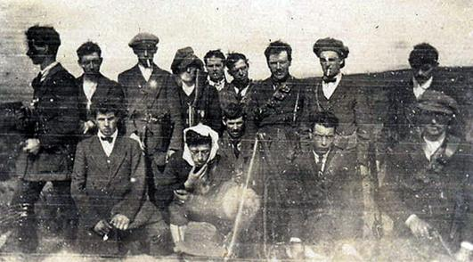 Paddy Callaghan is third from the left on the front row. In happier times, this was him in the North Longford Flying Column, before the Treaty and Irish Civil War.  The North Longford Flying Column on Crott Mountain, 1 May 1921, following an ambush at Reilly's house at Fyhora, in which two B&Ts were killed.     Rear L-R: Frank Davis, John (Bun) McDowell, Seamus McKeon (bro. of Gen Sean McKeon), Michael Tracey, Paddy Lynch, Tom Reilly, James (Nap) Farrelly, Frank Gormley, Hugh Hourican.     Front L-R: Kiernan (not a member of the column but 'on the run' & staying at Reilly's house), Pat Cooke, Paddy (Bug) Callaghan, Tom Brady, Tom Reddington (Brigade O/C)