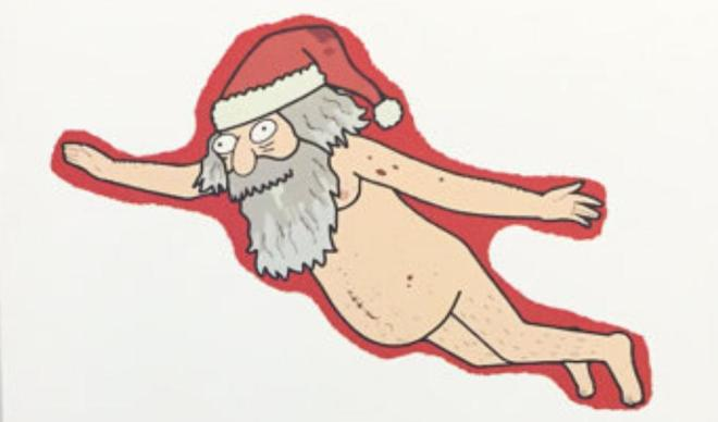 Artist impression of Willie Rimes when he was arrested for skinny dipping while drunk doing Santa
